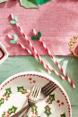 <p>Pretty red and white striped straws are just begging to be topped with die-cut holly leaves and berries.<br></p>