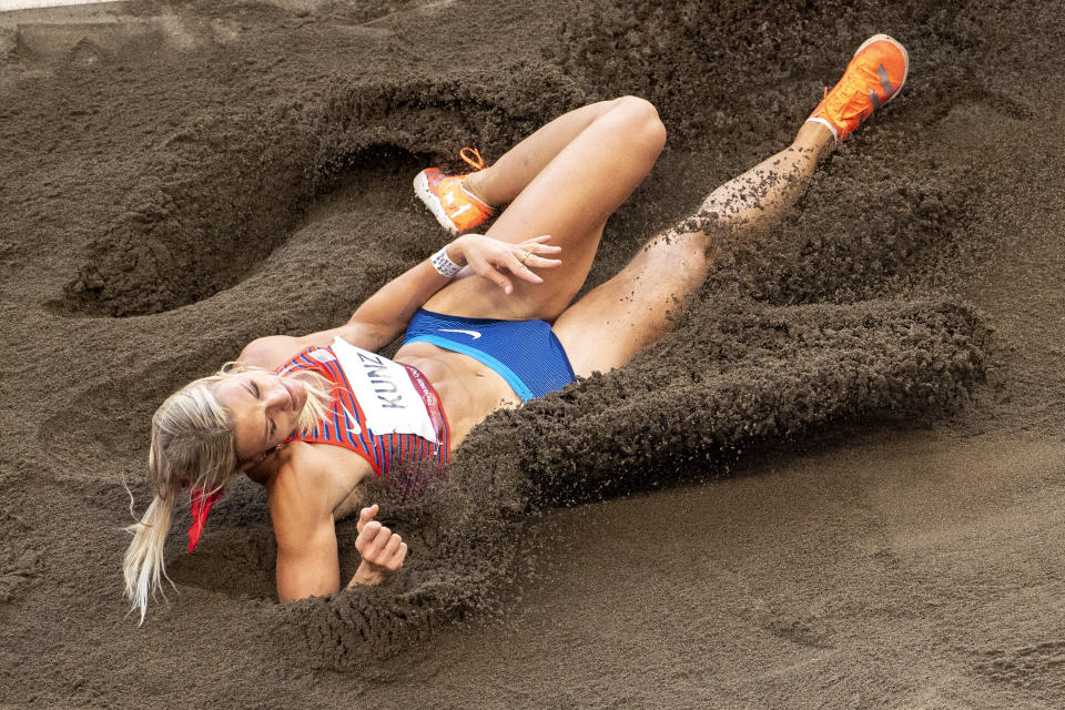 <p>Annie Kunz of the United States in action in the long jump event of the Heptathlon competition during the Track and Field competition at the Olympic Stadium at the Tokyo 2020 Summer Olympic Games on August 5, 2021 in Tokyo, Japan. (Photo by Tim Clayton/Corbis via Getty Images)</p>
