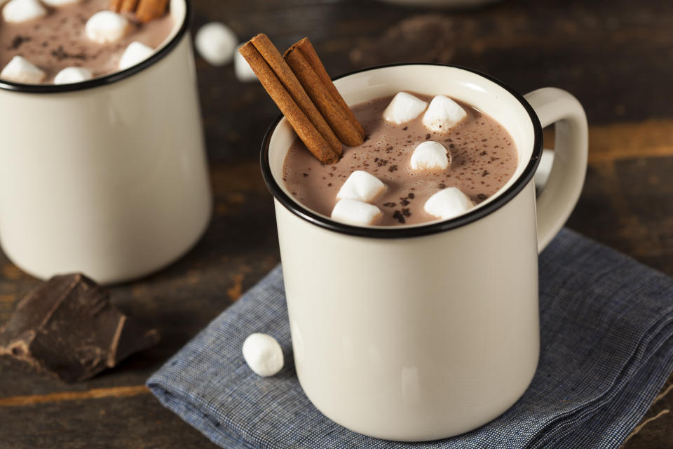 FILE PHOTO: Gourmet Hot Chocolate Milk with Cinnamon and Marshmallows (Source: Getty Creative)