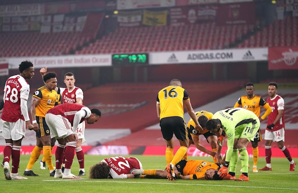 <p>Raul Jimenez and David Luiz are involved in a sickening clash of heads</p>Getty Images