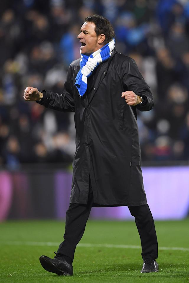 Soccer Football - Serie A - SPAL vs Juventus - Paolo Mazza, Ferrara, Italy - March 17, 2018 Spal coach Leonardo Semplici celebrates after the match REUTERS/Alberto Lingria