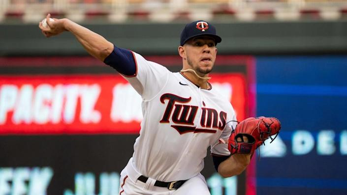 Minnesota Twins starting pitcher Jose Berrios (17) pitches against the Cleveland Indians in the second inning at Target Field.