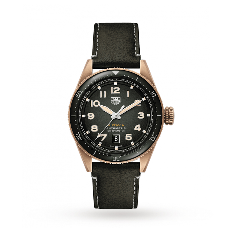 """<p><span>42mm Calibre 5</span></p><p><span><a class=""""link rapid-noclick-resp"""" href=""""https://www.watches-of-switzerland.co.uk/TAG-Heuer-Autavia-42mm-Mens-Watch-WBE5191.FC8276/p/17381724/"""" rel=""""nofollow noopener"""" target=""""_blank"""" data-ylk=""""slk:SHOP"""">SHOP</a></span></p><p><span>Though the Autavia dates back to the Sixties (and the Thirties if you count a stopwatch bearing its name), it took one relaunch in 1996 and another in 2017 for it to really catch on, as demand for its vintage relatives boomed. A classic pilot's watch with great retro styling (the gradient dial, the numerals), today's Autavia's come with the top-notch Calibre 5 movement.</span><br></p><p>£3,100; <a href=""""https://www.watches-of-switzerland.co.uk/TAG-Heuer-Autavia-42mm-Mens-Watch-WBE5191.FC8276/p/17381724/"""" rel=""""nofollow noopener"""" target=""""_blank"""" data-ylk=""""slk:watches-of-switzerland.co.uk"""" class=""""link rapid-noclick-resp"""">watches-of-switzerland.co.uk</a></p>"""