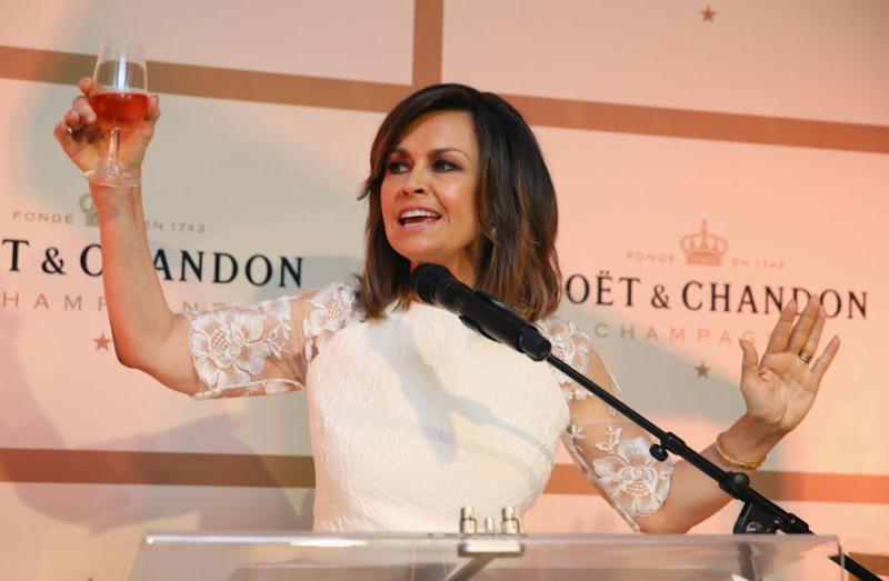 Lisa Wilkinson announces a toast at Sydney Opera House on October 20, 2017 in Sydney, Australia. More than 800 people gathered to celebrate global champagne day and attempt to break the Guinness World Record title for the largest champagne tasting event. Source: Getty