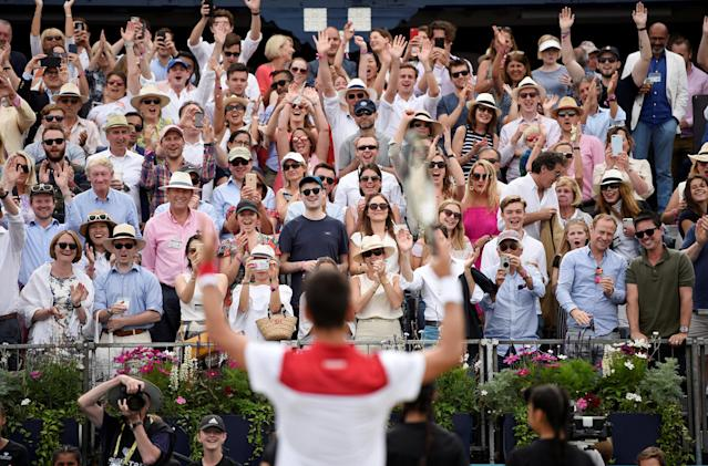 Tennis - ATP 500 - Fever-Tree Championships - The Queen's Club, London, Britain - June 23, 2018 Serbia's Novak Djokovic celebrates winning his semi final match against France's Jeremy Chardy Action Images via Reuters/Tony O'Brien TPX IMAGES OF THE DAY