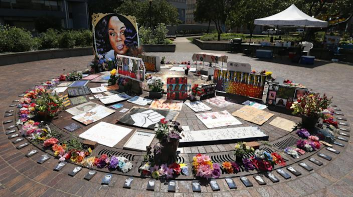 An artwork in remembrance of Breonna Taylor at Jefferson Square Park. Sept./10/2020