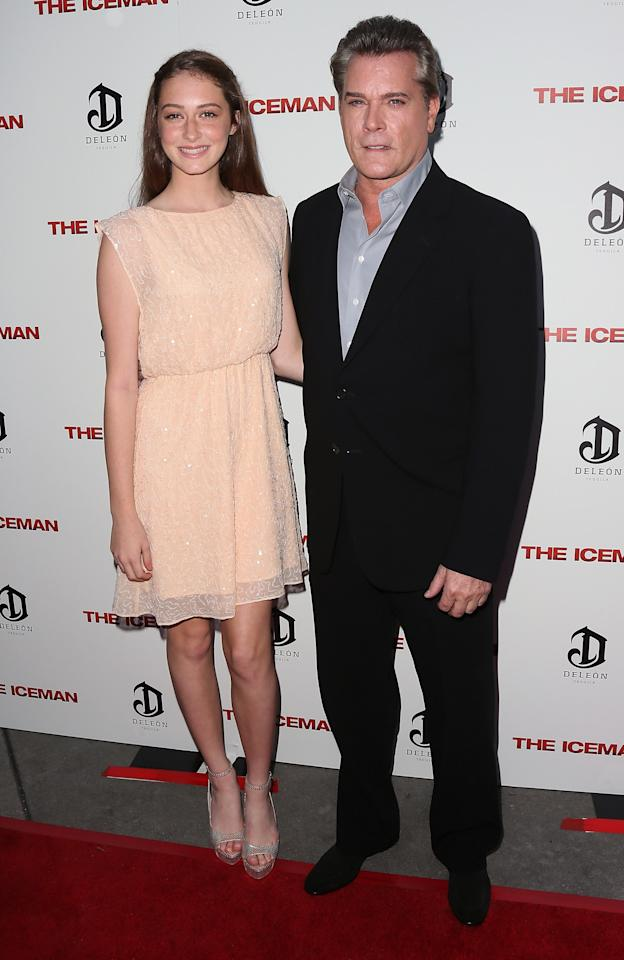 "HOLLYWOOD, CA - APRIL 22:  Actor Ray Liotta (R) and daughter Karsen Liotta attend the Los Angeles special screening of Millennium Entertainment's ""The Iceman"" at ArcLight Hollywood on April 22, 2013 in Hollywood, California.  (Photo by David Livingston/Getty Images)"