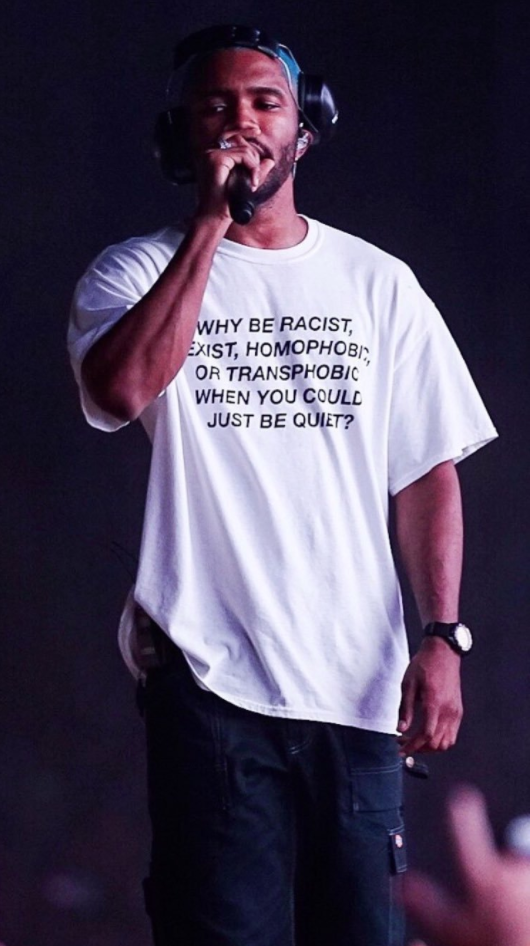 "<p>Singer Frank Ocean wore this shirt by a small e-commerce site, Green Box Shop, during his performance at the Panorama Music Festival. The shirt reads, ""Why be racist, sexist, homophobic or transphobic when you could just be quiet?"" (Photo: derby via Twitter) </p>"