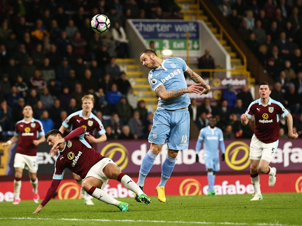 Marko Arnautovic attempts to level the score with a headed effort on goal (Getty)