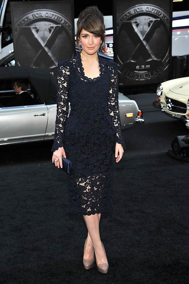 "Speaking of chic, check out the lacy Marc Jacobs masterpiece ""Bridesmaids"" beauty Rose Byrne wore to the New York premiere of ""X-Men: First Class."" Side-swept bangs, a satin clutch, Cartier baubles, and nude Brian Atwood pumps rounded out her remarkable outfit. Stephen Lovekin/<a href=""http://www.gettyimages.com/"" target=""new"">GettyImages.com</a> - May 25, 2011"