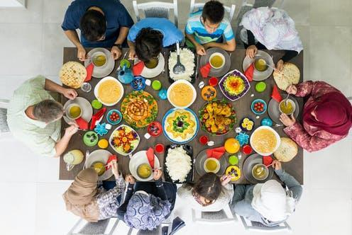 "<span class=""caption"">Ramadan is celebrated once every year.</span> <span class=""attribution""><a class=""link rapid-noclick-resp"" href=""https://www.shutterstock.com/image-photo/family-friends-gathering-together-home-eating-657274990"" rel=""nofollow noopener"" target=""_blank"" data-ylk=""slk:Zurijeta/ Shutterstock"">Zurijeta/ Shutterstock</a></span>"