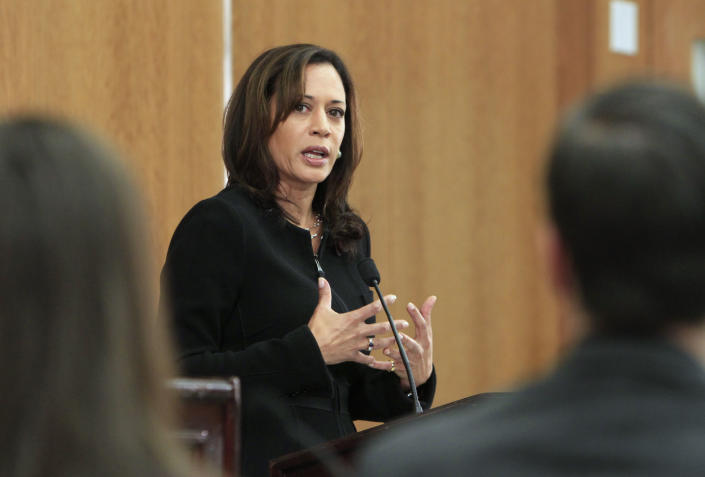 Kamala Harris, San Francisco County District Attorney responds to a question during her debate with Republican challenger, Los Angeles District Attorney Steve Cooley, at the University of California, Davis, School of  Law  in Davis, Calif. in 2010. (Photo: Rich Pedroncelli/AP)