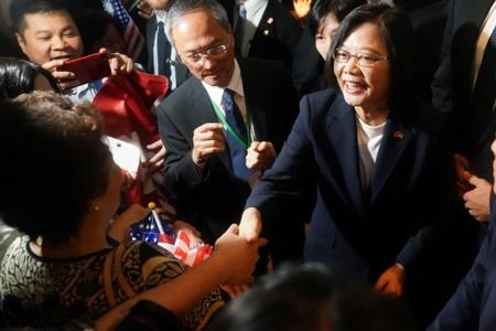 Taiwan's President Tsai Ing-wen arrives at the hotel where she is supposed to stay during her visit in the Manhattan borough of New York