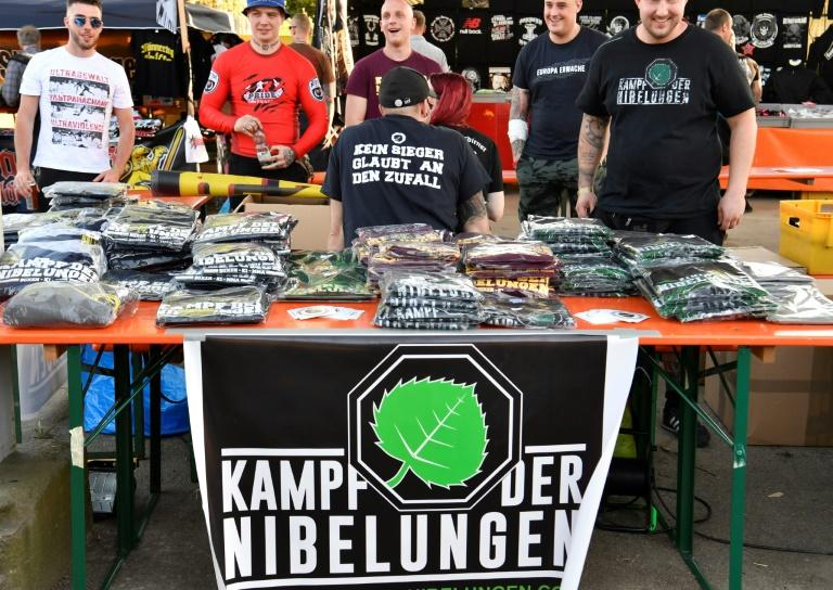 """Far-right paraphernalia is on sale at the """"Schild und Schwert"""" (Shield and Sword) neo-nazi festival, in the eastern German town of Ostritz. Hundreds of neo-Nazis were congregating on April 20, 2018, which marks Adolf Hitler's birthday"""