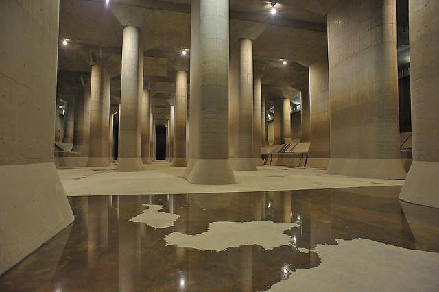 """Pressure regulating water tank in Tokyo's Edogawa River Office. This is part of the Tokyo Metropolitan area outer underground discharge channel, which is one of the world's largest flood control facilities. <br><br>(Photo courtesy of <a href=""""http://www.flickr.com/photos/ptrktn/3353015541/"""" rel=""""nofollow noopener"""" target=""""_blank"""" data-ylk=""""slk:ptrktn"""" class=""""link rapid-noclick-resp"""">ptrktn</a> © All rights reserved 2009)<br>"""