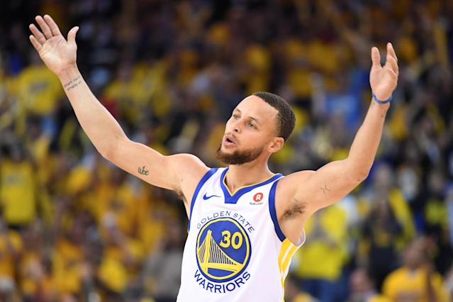 FILE PHOTO: May 8, 2018; Oakland, CA, USA; Golden State Warriors guard Stephen Curry (30) celebrates during the third quarter in game five of the second round of the 2018 NBA Playoffs against the New Orleans Pelicans at Oracle Arena. The Warriors defeated the Pelicans 113-104. Mandatory Credit: Kyle Terada-USA TODAY Sports/File Photo