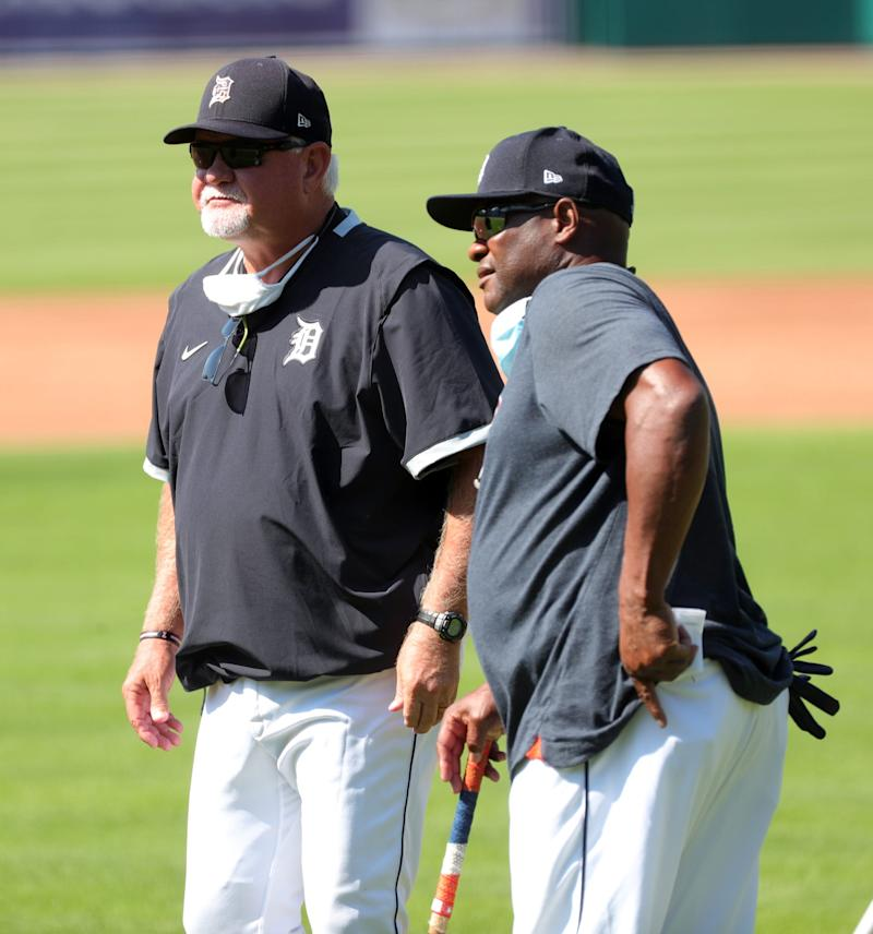 The Detroit Tigers held workouts at Comerica Park Friday, July 3, 2020. Manager Ron Gardenhire and Lloyd McClendon watch the action as the team prepares for the shortened 2020 season.