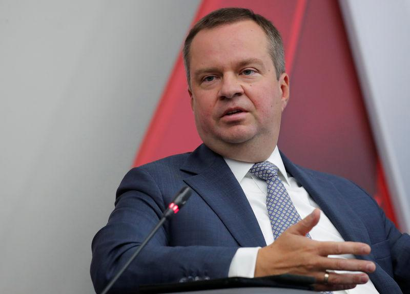 """Russian Deputy Finance Minister Moiseev attends a session of the annual international military-technical forum """"ARMY"""" at Patriot Expocentre in Moscow Region"""