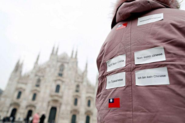 PHOTO: A tourist wears stickers on her back to identify herself as Taiwanese and not Chinese in Milan, as Italy deals with an outbreak of COVID-19, Feb. 25, 2020. (Yara Nardi/Reuters)