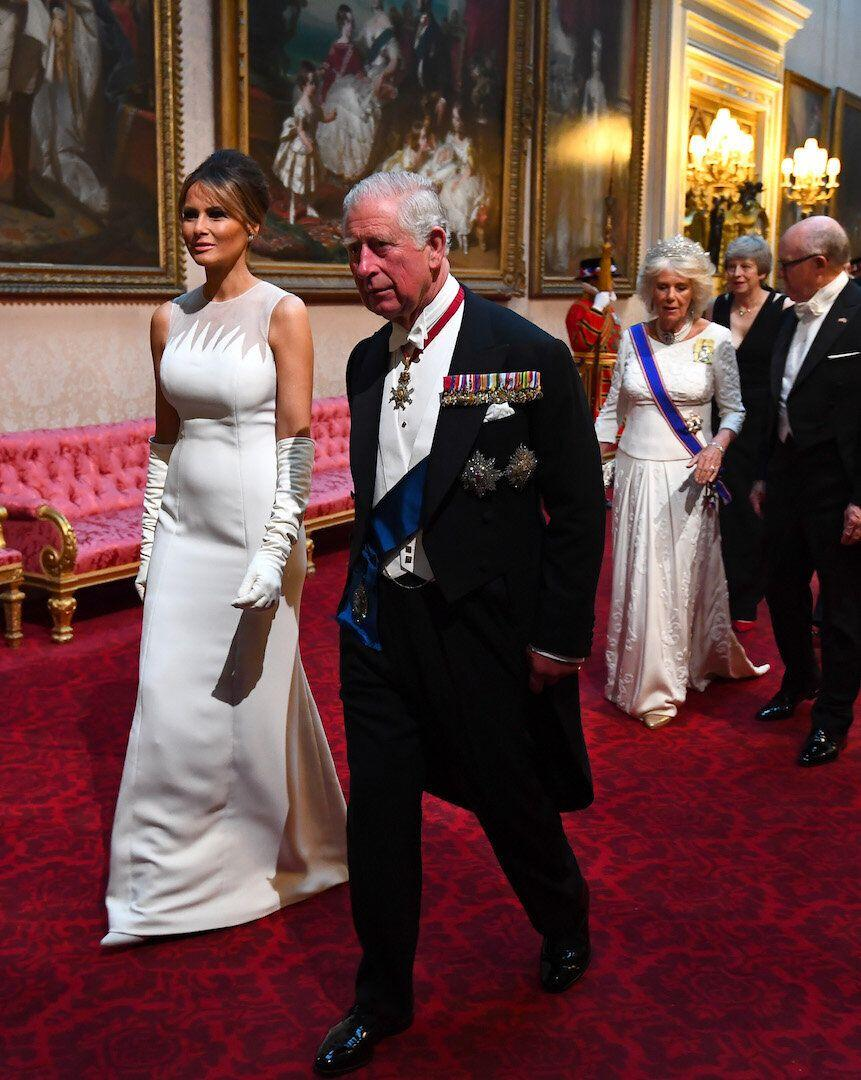 The First Lady chose a SS19 Christian Dior gown for last night's Buckingham Palace banquet [Photo: Getty]