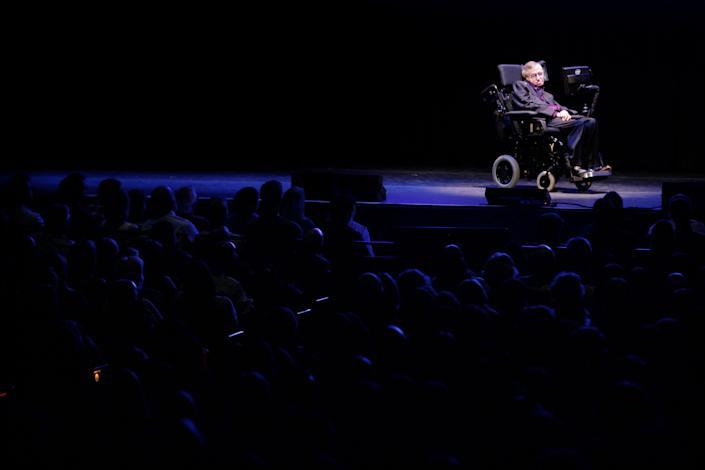 """""""The downside of my celebrity is that I cannot go anywhere in the world without being recognized. It is not enough for me to wear dark sunglasses and a wig. The wheelchair gives me away.""""  -- Hawking on StarTrek.com"""