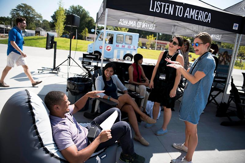 Emma Gray and Christine Robertschat with guests during the HuffPost visit to Memphis.