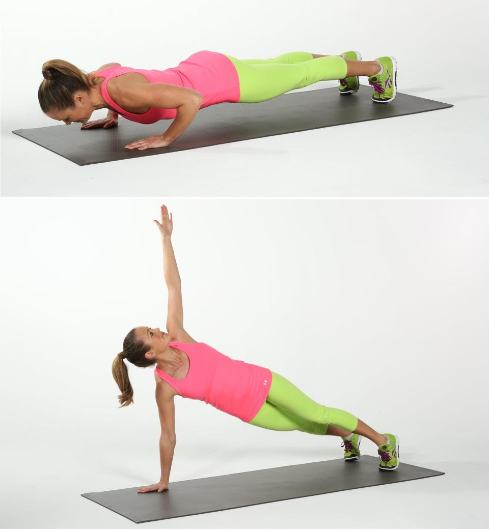 <ul> <li>Begin in a plank position with your feet in line with your hips.</li> <li>Lower your body toward the floor, and then push through your arms, returning to plank.</li> <li>Twist to the left, reaching your left arm to the ceiling without letting your pelvis rise or lower. </li> <li>Return to plank position, bringing your hand back to the floor. This completes one rep.</li> </ul>