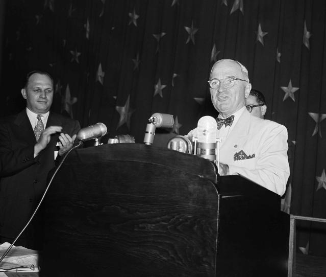 President Truman speaks before the annual convention of the American Newspaper Guild in Washington on June 28, 1950. (Photo: Henry Griffin/AP)