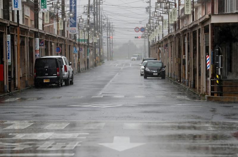 An empty road leading into Shiroko, Suzuka, Japan, on October 12, 2019, seen in heavy rain ahead of Typhoon Hagibis. (Photo: Soe Zeya Tun/Reuters)
