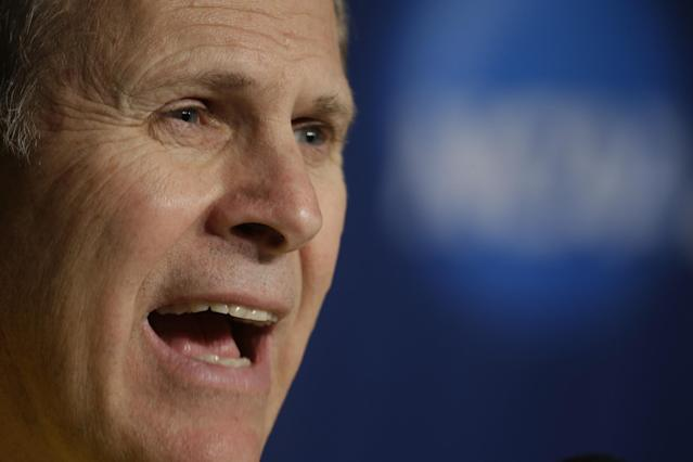 Michigan head coach John Beilein answers questions during a news conference for the third-round game of the NCAA college basketball tournament Friday, March 21, 2014, in Milwaukee. Michigan plays Texas on Saturday. (AP Photo/Morry Gash)