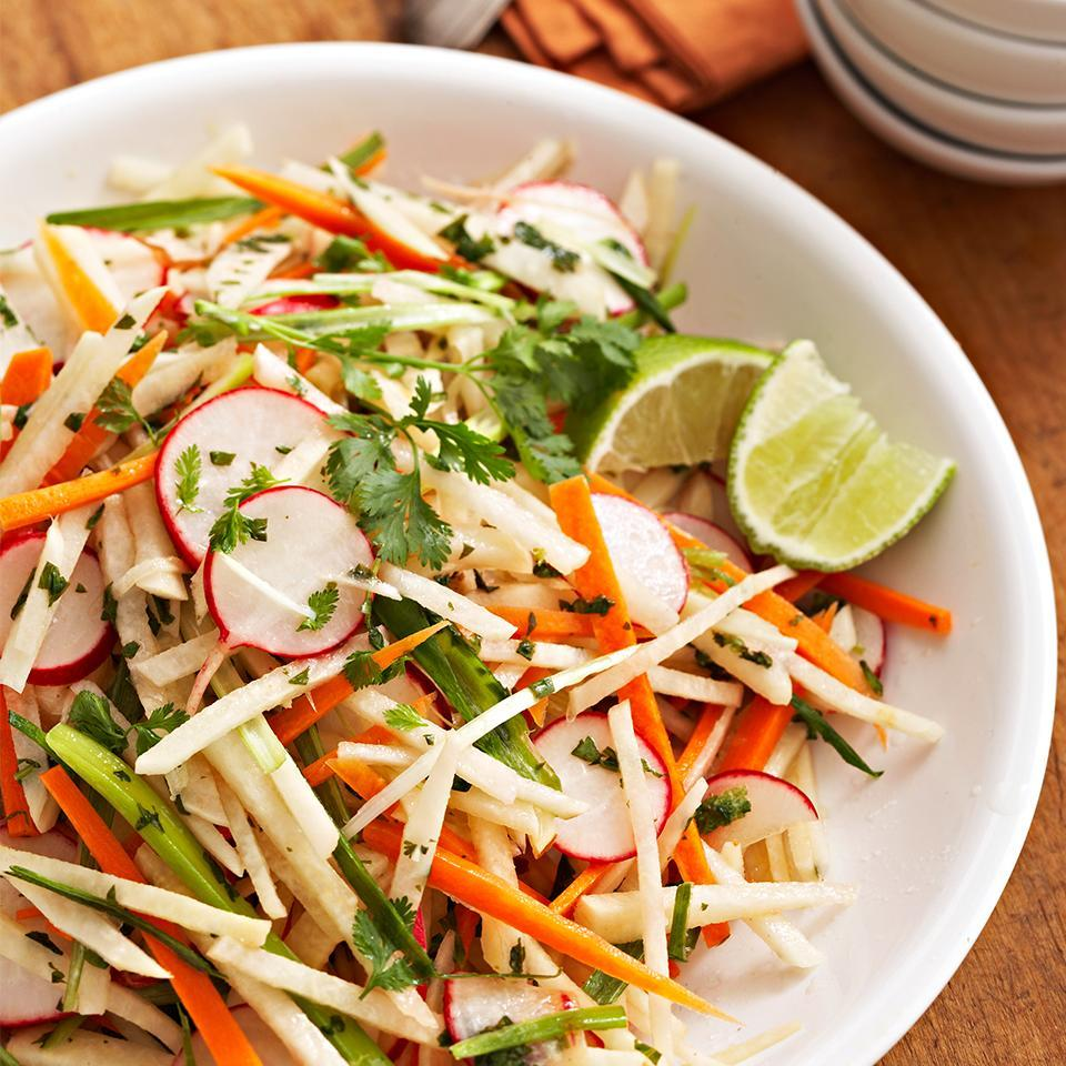 """<p>This easy side dish compliments any summer meal. Full of fresh and crunchy jicama, radishes and red pepper, this slaw is also a great topper on a salad or in a poke bowl. <a href=""""http://www.eatingwell.com/recipe/267476/jicama-radish-slaw/"""" rel=""""nofollow noopener"""" target=""""_blank"""" data-ylk=""""slk:View recipe"""" class=""""link rapid-noclick-resp""""> View recipe </a></p>"""