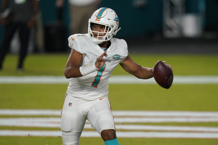 Miami Dolphins quarterback Tua Tagovailoa (1) looks to pass during the second half of an NFL football game against the New York Jets, Sunday, Oct. 18, 2020, in Miami Gardens, Fla. (AP Photo/Lynne Sladky)