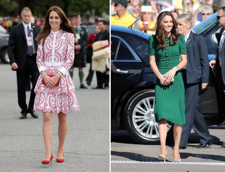 For a royal tour of Canada, Kate mainly wore high-end dresses like this printed Alexander McQueen number and custom green Dolce & Gabbana dress which cost $2500 (Photo: PA)
