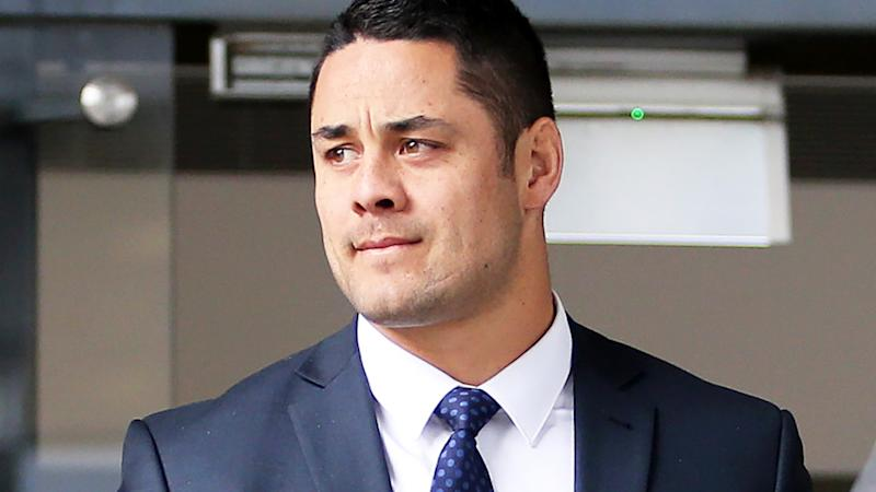 Jarryd Hayne, pictured here leaving Newcastle Local Court in 2019.