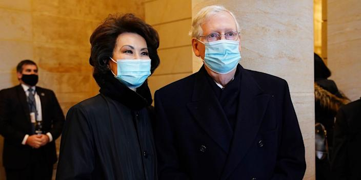 mitch mcconnell elaine chao republican biden inauguration dc capitol