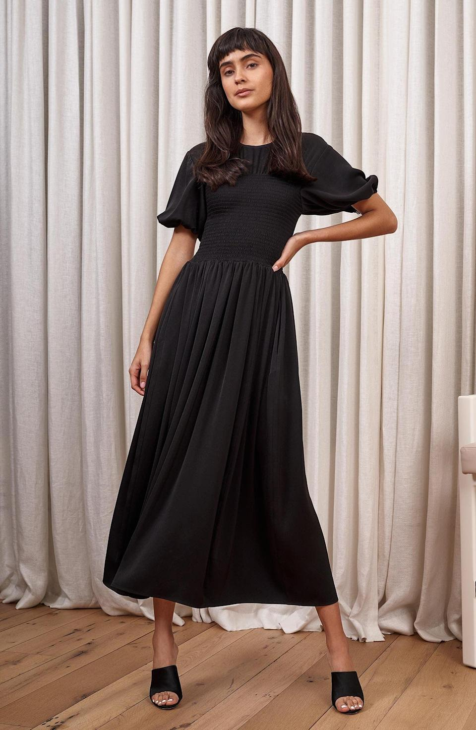 <p>This <span>La Ligne Smocked Bodice Puff Sleeve Maxi Dress</span> ($237, originally $395) is far from boring, thanks to the puff sleeve drama and fitted upper bodice. We like that the bottom half is flowy and easygoing.</p>