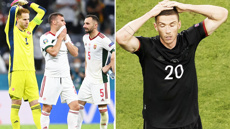 Hungary and Germany players, pictured here in disbelief over their result at Euro 2020.