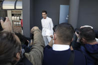 British singer Mika poses for photographers as he arrives to attend Valentino women's Spring-Summer 2021 fashion show , in Milan, Italy, Sunday, Sept. 27, 2020. (AP Photo/Luca Bruno).