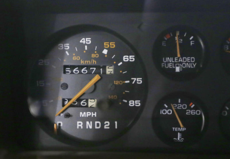 <p>               In a Jan. 22, 2013 photo, the speedometer of a 1984 Monte Carlo is seen at the GM Heritage Center in Sterling Heights, Mich. For years, most speedometers topped out at 120, a speed that many cars could come close to reaching, even though it was 50 mph over the limit in most states. Then, in 1980, Joan Claybrook, who ran the National Highway Traffic Safety Administration, limited speedometers to 85 mph, even though cars could go much faster. (AP Photo/Carlos Osorio)