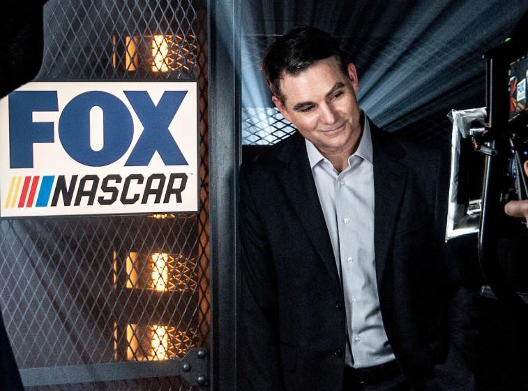 Former NASCAR driver Jeff Gordon works as an on-air analyst for Fox Sports' NASCAR television coverage.