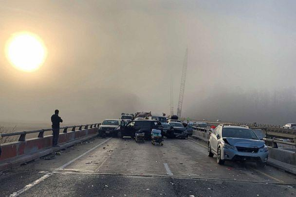 PHOTO: Damaged vehicles are seen after a chain reaction crash on I-64 in York County, Va., Dec. 22, 2019. (Bray Hollowell via Reuters)