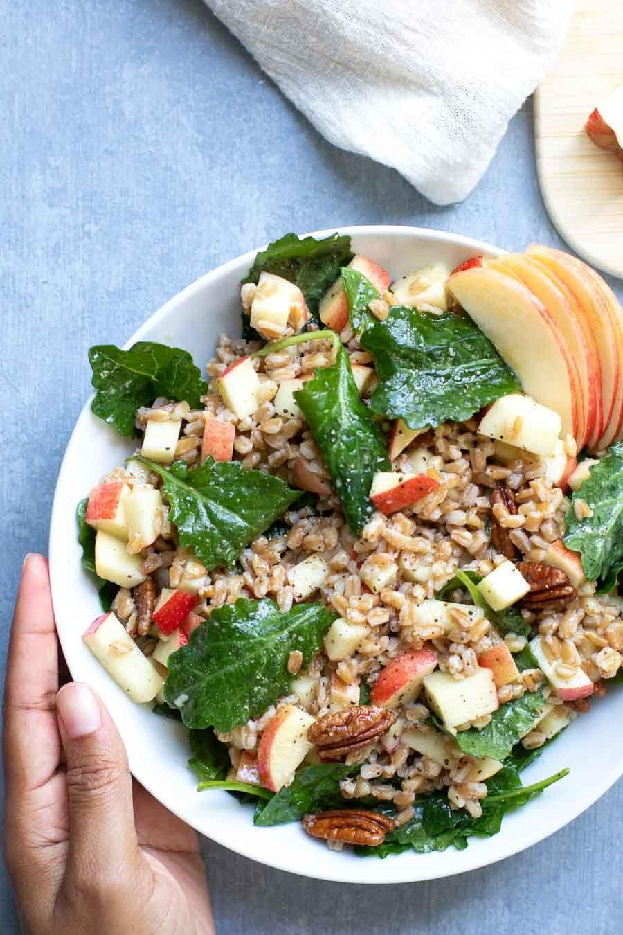 """<p>Farro is an ancient grain that's chewy, nutty, and perfect for adding heft to any salad. It cooks just like pasta in a pot of boiling water and can easily be made ahead to add to your salad. </p><p><strong>Get the recipe at <a href=""""https://marisamoore.com/apple-pecan-farro-salad/"""" rel=""""nofollow noopener"""" target=""""_blank"""" data-ylk=""""slk:Marisa Moore"""" class=""""link rapid-noclick-resp"""">Marisa Moore</a>. </strong></p><p><a class=""""link rapid-noclick-resp"""" href=""""https://go.redirectingat.com?id=74968X1596630&url=https%3A%2F%2Fwww.walmart.com%2Fsearch%2F%3Fquery%3Dstock%2Bpots&sref=https%3A%2F%2Fwww.thepioneerwoman.com%2Ffood-cooking%2Fmeals-menus%2Fg36806222%2Ffall-salad-recipes%2F"""" rel=""""nofollow noopener"""" target=""""_blank"""" data-ylk=""""slk:SHOP POTS"""">SHOP POTS</a></p>"""