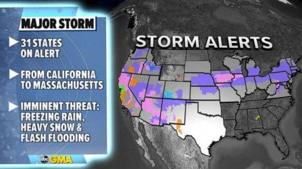 PHOTO: There are 31 states on alert this morning for variety of dangerous weather stretching from California to Massachusetts. (ABC News)