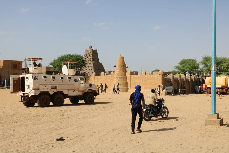 United Nation forces patrol the streets of Timbuktu, Mali, Sunday, Sept. 26, 2021. Many residents of Timbuktu are worried that when French troops pull out of the city in northern Mali, jihadis will return to impose strict Shariah law including public whippings and amputations. The Islamic extremists ruled Timbuktu in 2012 and banned music, sports and destroyed historic mausoleums, saying they were idolatrous. (AP Photo/Moulaye Sayah)