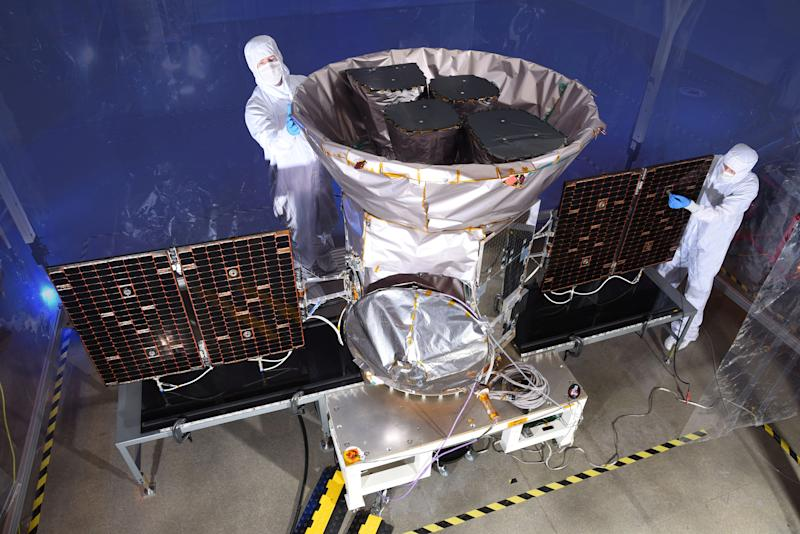 TESS, the Transiting Exoplanet Survey Satellite, is shown in this photo obtained by Reuters on March 28, 2018. NASA plans to send TESS into orbit from the Kennedy Space Center in Florida aboard a SpaceX Falcon 9 rocket set for blastoff sometime between April 16 and June on a two-year mission. NASA/Handout via REUTERS ATTENTION EDITORS - THIS IMAGE WAS PROVIDED BY A THIRD PARTY.