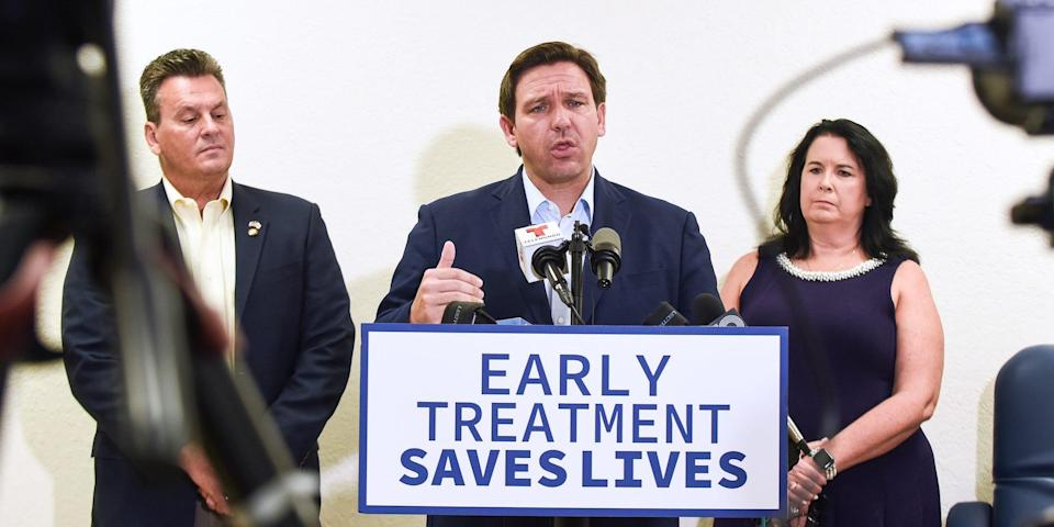Florida Governor Ron DeSantis speaks at a press conference to announce the opening of a monoclonal antibody treatment site for COVID-19 patients at Lakes Church in Lakeland, Florida. DeSantis stated that the site will offer the Regeneron treatment, and will operate 7 days a week, treating 300 patients a day.