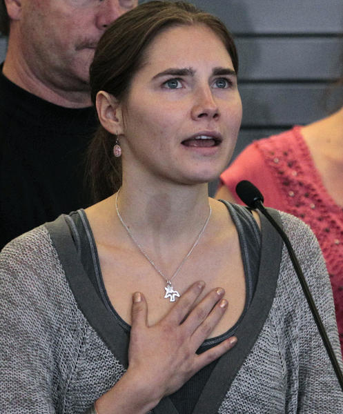 FILE - In this Oct. 4, 2011 file photo, Amanda Knox speaks at a news conference shortly after her arrival from Italy at Seattle-Tacoma International Airport in Seattle. Former American exchange student Knox spent four years in jail in Italy, from her arrest to her conviction in her first murder trial through her successful appeal. She's now facing a second appeals trial, along with her former Italian boyfriend Raffaele Sollecito. (AP Photo/Elaine Thompson, File)