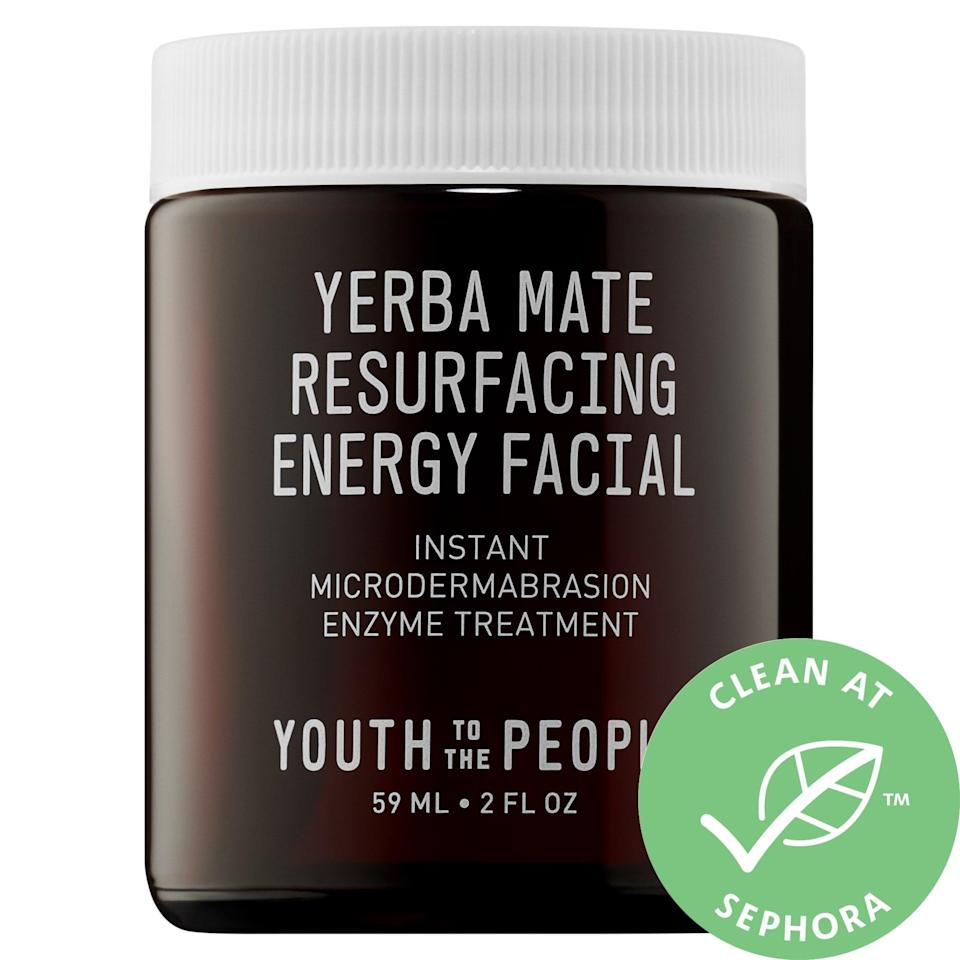 <p>There's three times the microdermabrasion in this <span>Youth To The People Yerba Mate Resurfacing + Exfoliating Energy Facial With Enzymes</span> ($54) as active enzymes, micro-exfoliants, and caffeine work together to resurface and brighten skin in two minutes.</p>