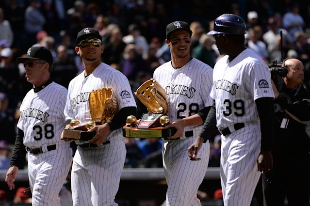Nolan Arenado received his first Gold Glove award the same day he played his first home opener in Colorado. (Photo by Hyoung Chang/The Denver Post via Getty Images)