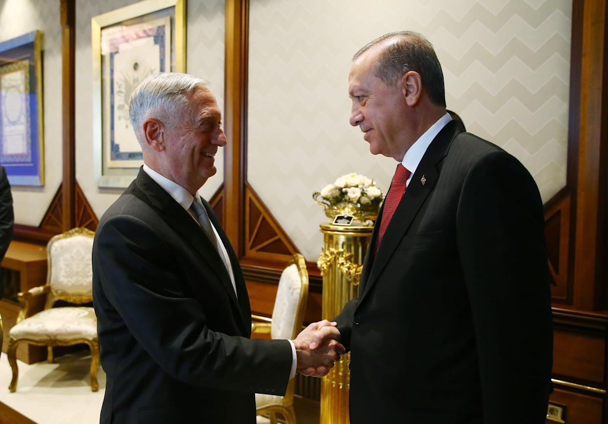 Former Defense Secretary Jim Mattis (left), shown here greeting Turkey President Recep Tayyip Erdogan,was one of the dwindling number of traditionalists inside the U.S. foreign policy apparatus who consistently defended the alliance with Turkey. (Photo: Anadolu Agency via Getty Images)